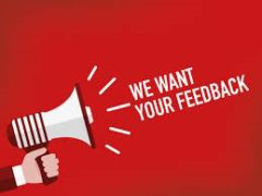 megaphone with the words we want your feedback - annual fun