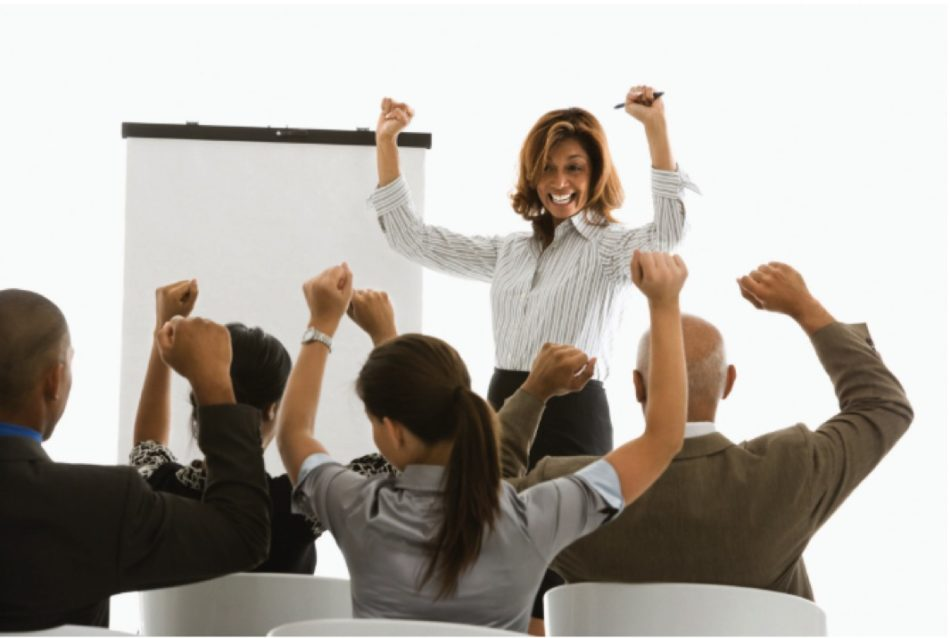 Graphic of a group of people celebrating success
