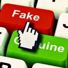 picture of a keyboard with a key named Fake and a key named genuine with a pointer finger toward fake relationships