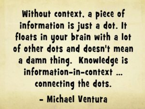 """Quote: """"Without context, a piece of information is just a dot. It floats in your brain with a lot of other dots and doesn't mean a damn thing. Knowledge is information-in-context ... connecting the dots."""" - Michael Ventura context"""