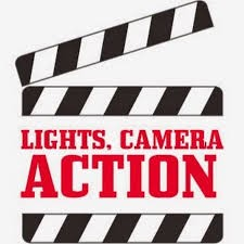 graphic of slateboard with words lights camera action video