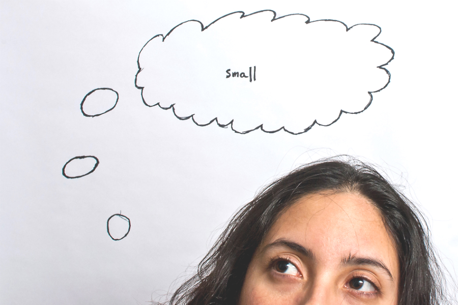 picture of woman with thought bubble with word small - major gift
