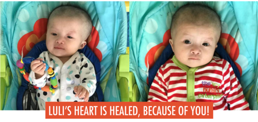 Because of you, Luli's heart is healed.